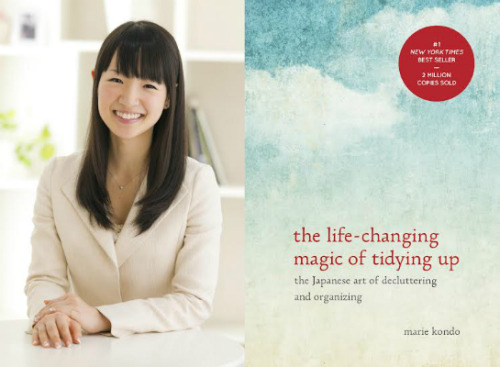 "Organizational expert Marie Kondo and the cover of her best-selling book ""The Life-Changing Magic of Tidying Up""."